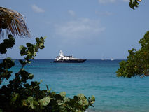 A luxury motor yacht near the beach Stock Photo