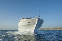 Luxury motor yacht at sea Stock Photos