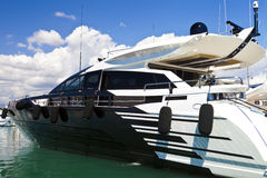 Luxury motor yacht in a sea marina Royalty Free Stock Photography