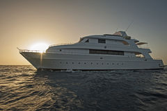 Luxury motor yacht at sea in sunset Royalty Free Stock Photography