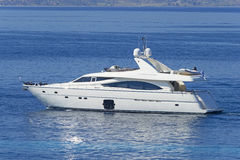 Luxury motor yacht. Shot of a luxury motor yacht cruising the Aegean sea, Greece Stock Photo