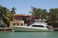Luxury motor yacht on Star Island in Miami Stock Photos