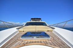 Luxury motor yacht. View of the bow deck of a Luxury motor yacht royalty free stock images