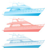Luxury motor yachts. Illustration of three luxurious motor yachts cruisers isolated on white background Royalty Free Stock Photo