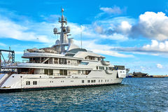 Luxury motor yachts in a Barcelona port. Royalty Free Stock Photography