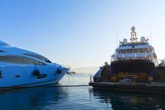 Luxury motor-yachts Stock Images