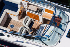 Luxury motorboat interior Stock Photo