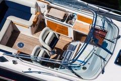 Luxury motorboat top view Stock Photo