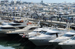 Luxury motorboats at a motor show Royalty Free Stock Photography