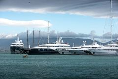 Luxury motorboats and yachts at the dock.Marina Zeas, Piraeus,Greece stock images