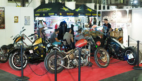 Luxury motorcycles at exhibition Royalty Free Stock Images