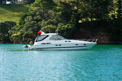 Luxury Motoryacht at Anchor Royalty Free Stock Image