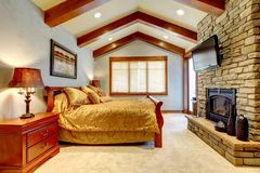 Luxury mountain home bedroom Royalty Free Stock Photo