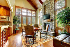 Luxury mountain home diining and living room Royalty Free Stock Images
