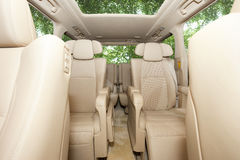 Luxury MPV car running in bamboo forest Royalty Free Stock Photos