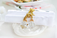 Luxury napkins with napkin ring Royalty Free Stock Image