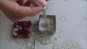 Luxury necklace in box stock video