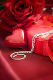 Luxury necklace  on red present Stock Photography