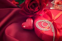 Luxury necklace  on red present Royalty Free Stock Photo
