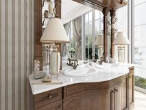 Luxury neoclassical furniture in modern style in the bathroom. Double vanity bathroom with two table lamps and shelves. 3D render Stock Photography