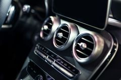 Luxury Car Interior AC Control And Ventilation Deck. Luxury new Car Interior AC Control And Ventilation Deck stock photos