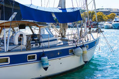 Luxury new cruising sailboat bow view from port side. Royalty Free Stock Photo