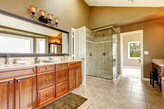 Luxury new large bathroom interior Stock Photos