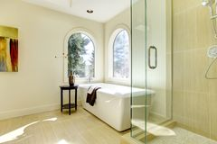 Luxury new natural classic bathroom. Royalty Free Stock Photos