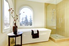 Luxury new natural classic bathroom. Royalty Free Stock Images