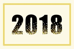 Luxury 2018 New Year gold glitter lettering for your decoration. Can be used as banner, poster, calendar front page. card etc Royalty Free Stock Image