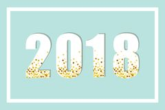 Luxury 2018 New Year gold glitter lettering for your decoration. Can be used as banner, poster, calendar front page. card etc Stock Photography