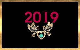 Luxury New Year illustration. Two light golden two birds-shaped in the boths side of one small golden heart-shaped ornament on black backround which has shine vector illustration