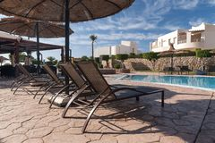 Luxury nice hotel swimming pool in the Egypt Royalty Free Stock Image
