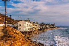 Oceanfront homes of Malibu beach in California. Luxury oceanfront homes of Malibu beach near Los Angeles, California Royalty Free Stock Photo