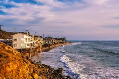 Oceanfront homes of Malibu beach in California. Luxury oceanfront homes of Malibu beach near Los Angeles, California Royalty Free Stock Image