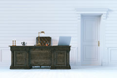 Luxury office cabinet in classic wooden interior. 3d render. Royalty Free Stock Photography