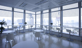 Luxury Office indoor against background of  Oriental pearl tower Royalty Free Stock Images