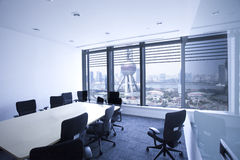 Luxury Office indoor against background of  Oriental pearl tower Stock Images
