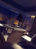 Luxury office interior overlooking city lights Royalty Free Stock Images