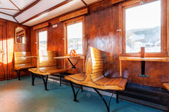 Luxury old train carriage. Interior of luxury old train carriage Stock Images