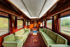 Luxury old train carriage. Interior of luxury vinitage old train carriage from 1950 Royalty Free Stock Image
