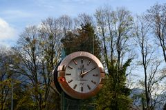 Luxury Omega Watch in Landscape, Bad Ragatz, Switzerland royalty free stock photo
