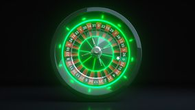 Luxury Online Casino Gambling Roulette Wheel 3D Realistic With Neon Green Lights - 3D Illustration vector illustration