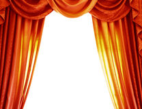 Luxury orange curtains. Isolated on white background, abstract border, open curtain on the theatre, theatrical performance concept Royalty Free Stock Photos