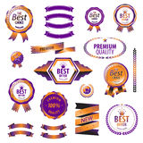 Luxury orange premium quality best choice labels Stock Image