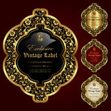 Luxury ornamental gold-framed labels - vector set Royalty Free Stock Images