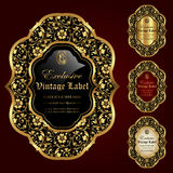 Luxury ornamental gold-framed labels - vector set Stock Photo