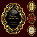 Luxury ornamental gold-framed labels - vector set Stock Photography