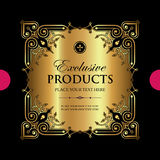 Luxury ornamental gold label - vector design. Golden decorative label with luxury ornamental elements Stock Images
