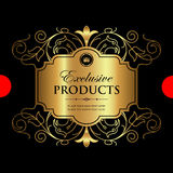 Luxury ornamental gold label - vector design. Golden decorative label with luxury ornamental elements Royalty Free Stock Images